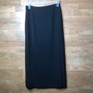 Studio C Size 12 Black Fixed Wrap Maxi Skirt